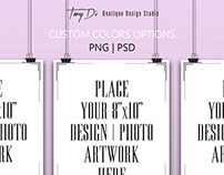 8x10 Set of 3 Portrait Posters Mock-ups