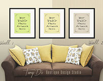 8x10 Sofa Wall Interior & Set of Black Frames