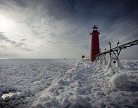 Frozen Grand Haven Lighthouse