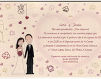 Invitaciones para la boda de Jacobo y Carla.