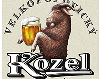 Kozel Beer Label illustrations by Steven Noble