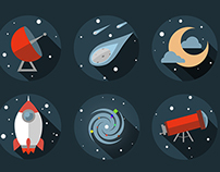 Flat space icons