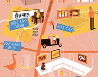 Illustrated map of New Delhi