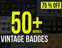 50+ Vintage Badges Bundle