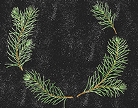 Watercolor Pine Branches Pattern and Printed Stuff