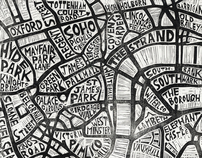 Typographic Linocut Map of London