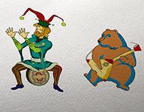 Сlowns or skomorokhs illustration