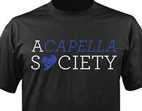 UML A Capella Society logo and t-shirts
