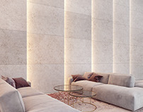 Light in architecture - travertine wall