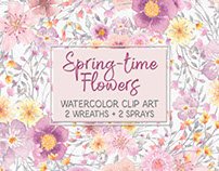 Spring-time flowers: watercolor clip art