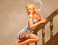 Pin-up style artwork for the band 'The Fratellis'.