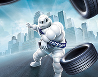 Michelin advertising illustration