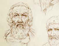 Philosophers. Pencil on paper.
