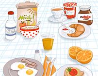 """Breakfast"" illustrations for Gurmet magazine"