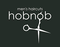 "Logo for ""Hobnob"" men's haircuts"