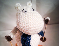 """Moomin skier from book """"Trollvinter"""" by Tove Jansson"""