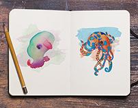 Watercolor Sketches/ Underwater Sea Creatures