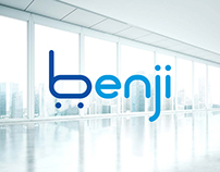 """Logotype and landing page for """"Benji"""" company."""