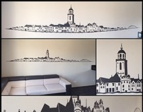 Deventer Skyline graffiti Stencil Art