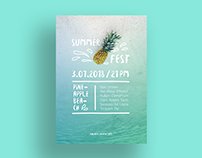 Pineapple Beach Poster Template