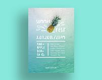 Pineapple Beach Poster Template