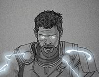 Thor - Line Illustration