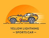 黄色闪电跑车插画设计