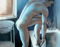 male nude in the bathroom