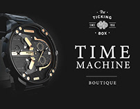 Time Machine Boutique Lightbox design.