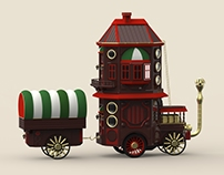 Steampunk House on Wheels, Victorian Style Toy