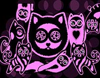 Pink cats sticker set