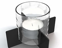 Candle holders in iron, concrete and glass