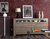 Furniture with stripy wood