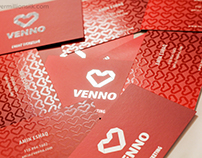 Venno - Silk Business Cards with Silver Foil & Spot UV