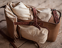 Leather and canvas backpack #078