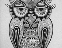 Owl in pattern