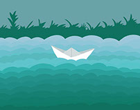 Illustrated floating paper boat.