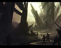 sci-fi cave sketch