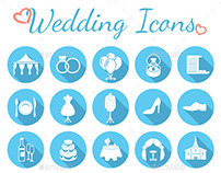 Round Flat Wedding Icons