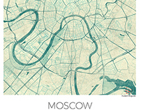 Moscow, Russia. Blue vintage watercolor map poster