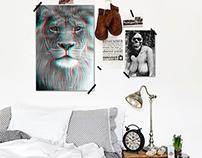 3D Lion Poster