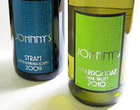 Johnny's Syrah & Chardonnay wine labels