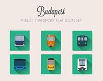 Budapest Public Transport - flat icon set