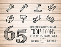 65 Hand Drawn Tools Icons
