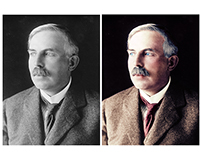 Colorisation of a photograph of Ernest Rutherford