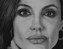 Angelina Jolie - Charcoal pencil