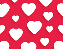 Seamless patterns with white hearts and greeting cards