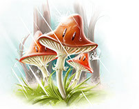 Three mushrooms under the rain