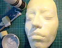 Plaster facecast using alginate & latex face prosthetic