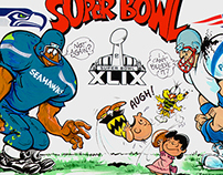 SUPER BOWL 49! Sports Cartoon - Illustration